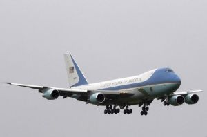 Air Force One, carrying U.S. President Barack Obama, prepares to land at Dublin